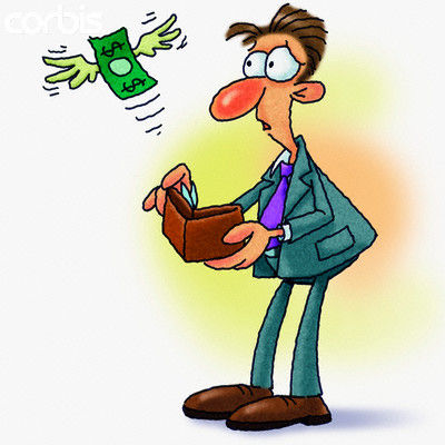 money flying out of man's wallet --- Image by © Imagezoo/Images.com/Corbis